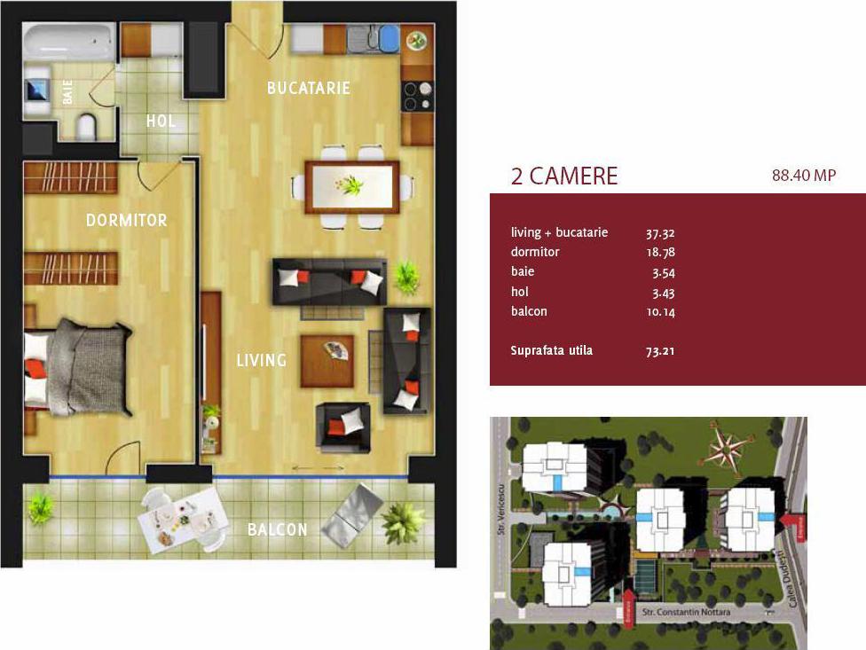 Plan apartament 2 camere