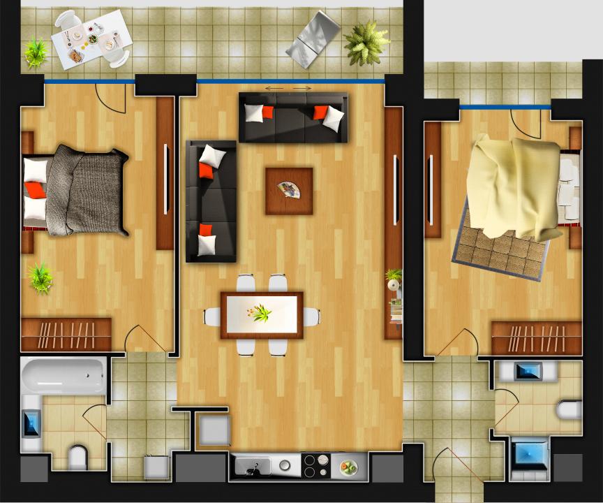 Plan apartament 3 camere